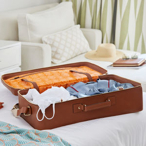 Luxurious Leather Tan Weekend Case For Travel