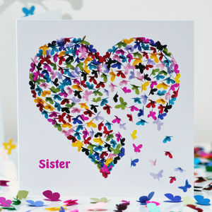 Kaleidoscope Sister Butterfly Blank Card - shop by category