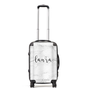 White Marble Personalised Suitcase