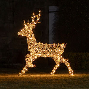 Light Up Rattan Stag Figure