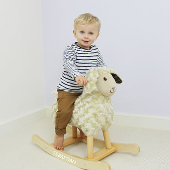 Personalised Wooden Rocking Animal Lamb