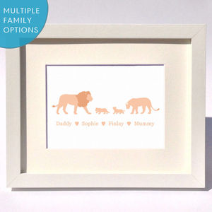 Personalised Lion Family Print - mother's day cards