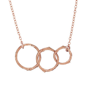 Hawthorn Twig Triple Circle Infinity Necklace Rose Gold