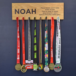 Personalised Medal Hanger Achievement Hook Board - bedroom