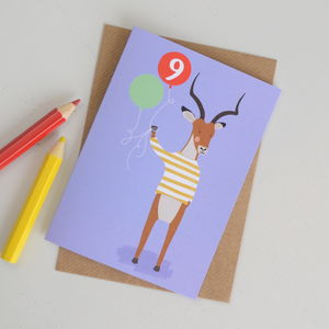 Age Nine Antelope Children's Birthday Card - birthday cards