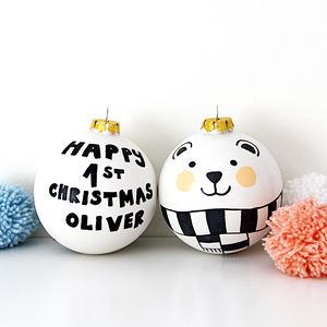 Personalised Monochrome Baby's First Christmas Bauble - tree decorations