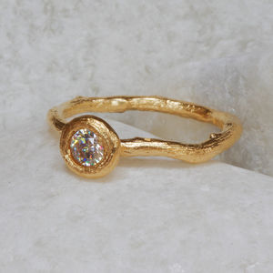 Diamond Solitaire Engagement Ring - gold