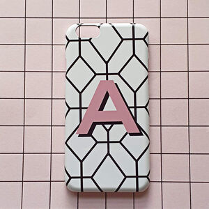 Personalised Geometric Print Pink Alphabet Phone Case
