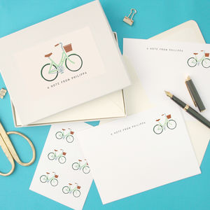 Personalised Bicycle Writing Set - notelets & writing paper
