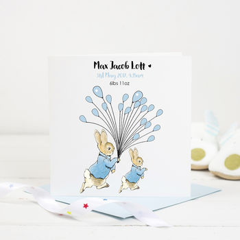New Baby Card Rabbit With Balloons