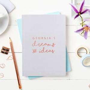 Personalised Dreams And Ideas Foiled Notebook - stocking fillers