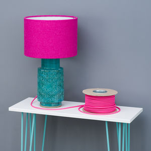 Bright Hot Pink Harris Tweed Wool Lampshade - bedroom