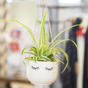Ceramic Eyes Shut Hanging Planter - garden