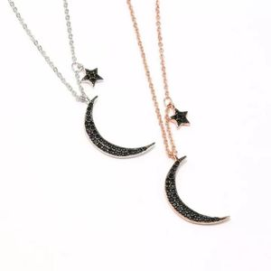 Black Crystal Moon And Star Pendant