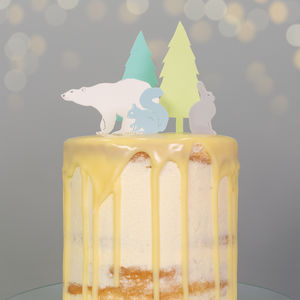Winter Animals Christmas Cake Topper