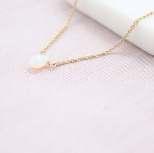 Smooth Opal Teardrop Necklace Gold Or Rose Gold Filled
