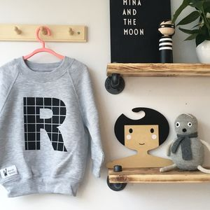 Kids And Babies Personalised Grey Letter Sweatshirt - clothing