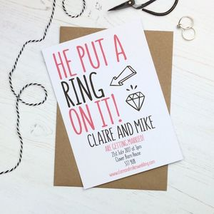 He Put A Ring On It Wedding Invitation - wedding stationery