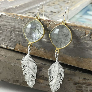 Silver Feather And Quartz Earrings - earrings