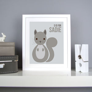 Personalised Squirrel Nursery Print