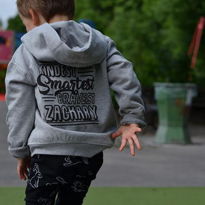 Personalised Three Words Zip Kid's Hoodie