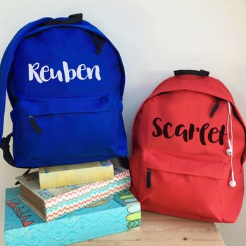 Personalised Name School Rucksack All Colours