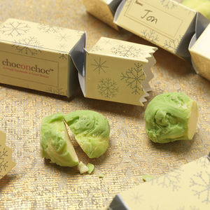 Chocolate Sprout Filled Christmas Mini Crackers - crackers