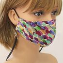 Brush Strokes Silk Face Mask With Lanyard, Silk Bag
