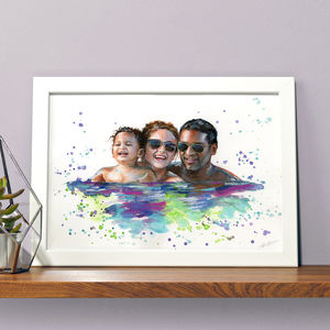 Personalised Illustrated Watercolour Family Portrait - new in prints & art