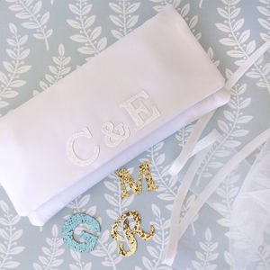 Bride And Groom Monogram Bridal Clutch