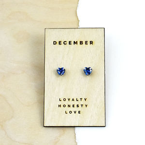 Birthstone Characteristics Heart Stud Earrings - wedding fashion