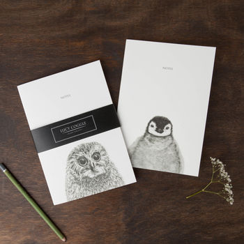 Pair Of Owl And Penguin Notebooks