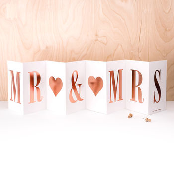 Wedding Card 'Mr And Mrs' In Rose Gold Foil