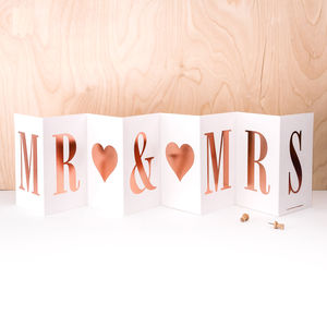 Wedding Card 'Mr And Mrs' In Rose Gold Foil - shop by category