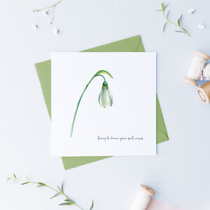 Snowdrop Card, Bereavement Sympathy Card ..Botanical 01
