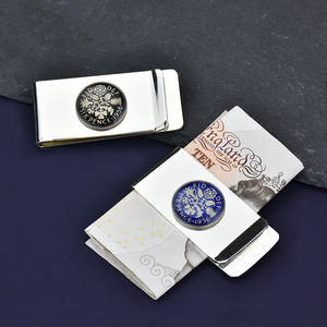 Sixpence 60th Enamel Coin Money Clip - wallets