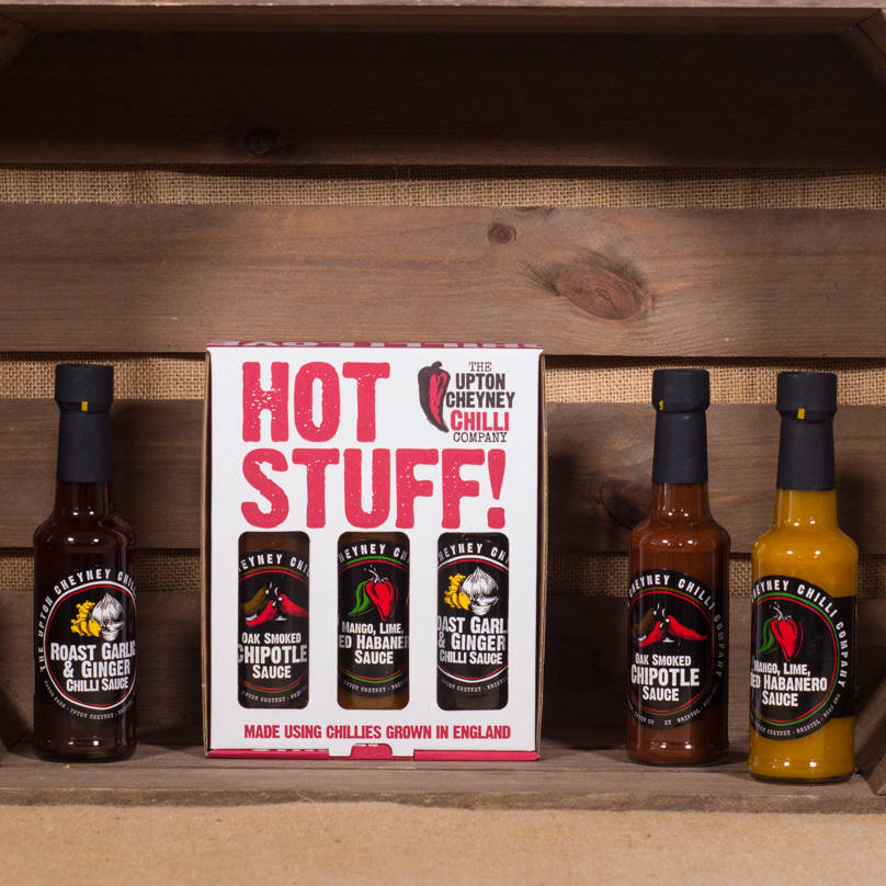hot stuff' chilli sauce gift set by the