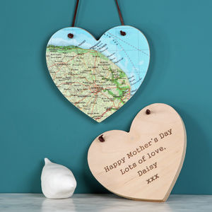 Mother's Day Personalised Map Location Hanging Heart