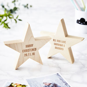 Personalised Christening Wooden Star Keepsake - ornaments