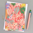 Pack Of Four Tropical Print Greetings Cards