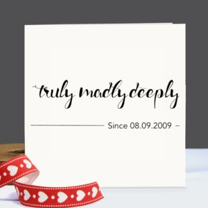 Personalised 'Truly,Madly,Deeply' Card - wedding cards & wrap