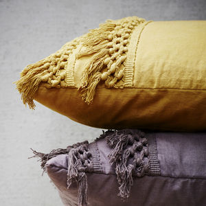 Ochre Yellow Fringed Cotton Cushion - bedroom