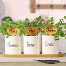 Three Ceramic Herb Planters With Personalised Markers