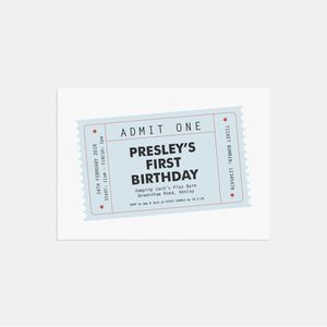 Blue Party Ticket Personalised Invitations