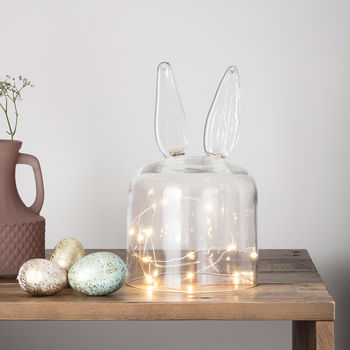 Bunny Glass Dome With Micro Fairy Lights
