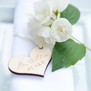 Wedding table decorations wedding centerpieces ideas 10pk mr and mrs heart tags junglespirit Image collections