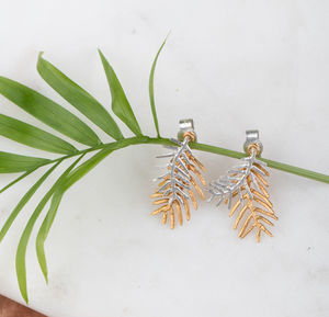 Double Palm Leaf Stud Earrings - earrings
