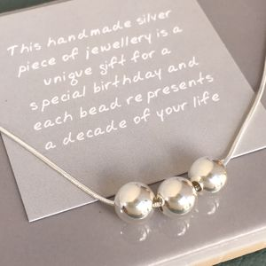 30th Birthday Handmade Silver Bead Necklace