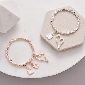 Personalised Heart Charm Bracelet - mum loves style