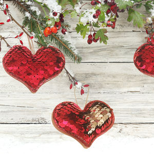 Three Reversible Sequin Heart Decorations - home accessories
